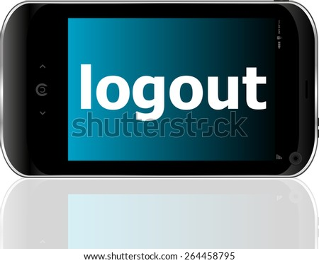 Web development concept: smartphone with word logout on display - stock vector