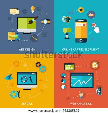 Web development design concept set with online apps analytic service isolated vector illustration - stock vector