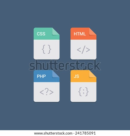 Web development file format flat icon set - stock vector