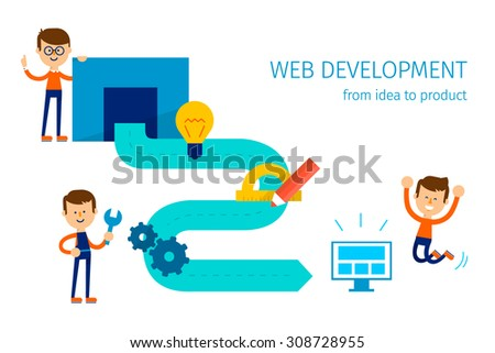 Web Development Idea Product Process Website Stock Vector ...