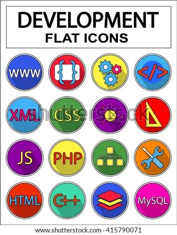 Web development icons set: html, css, xml, javascript, tag, mysql, curves, php, c++, script. Vector flat illustrations with long shadows. Geek symbol for  programming, website, business.  - stock vector