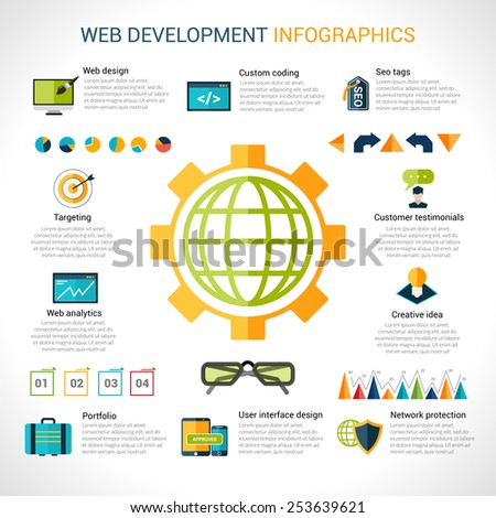 Web development infographics with website optimization elements and charts vector illustration - stock vector