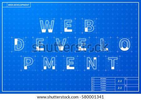 Web development phrase scheme blueprint style stock vector web development phrase scheme in blueprint style with marks malvernweather Image collections