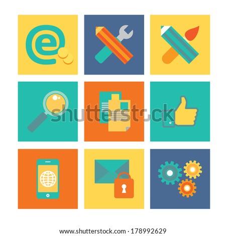 Web development vector icon set. Element symbolized a success internet development and optimization process. Flat modern illustration isolated on stylish colored background  - stock vector