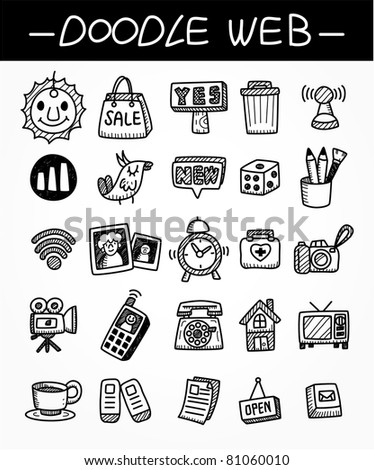 web doodle icon set - stock vector