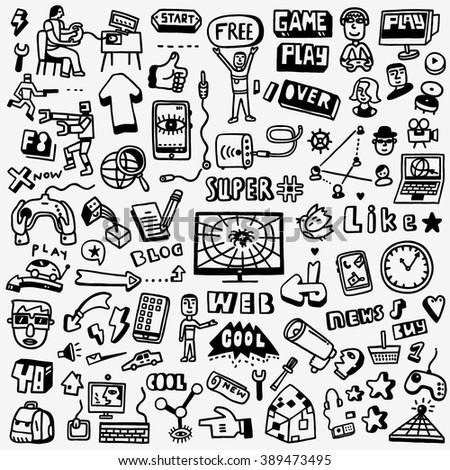 Web doodles set - stock vector