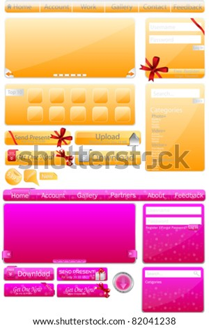 Web Elements Big Collection & Nice Web Glossy Buttons - stock vector