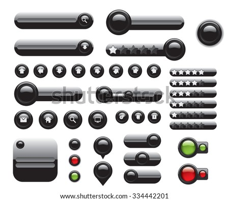 Web elements set black buttons - stock vector