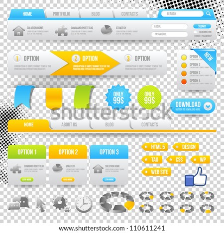 Web Elements. Site Navigation Menu Pack. Design Template. - stock vector