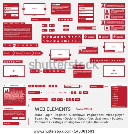 Web elements template | icon login register slideshow pagination video player search bar form options steps vertical menu buttons comments icons ratings dialog box input radio | icon pack | vector set - stock vector