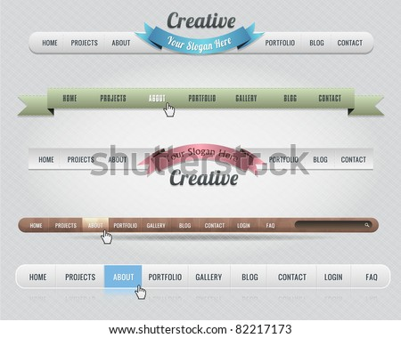 Web Elements Vector Header & Navigation Templates Set 01 - stock vector