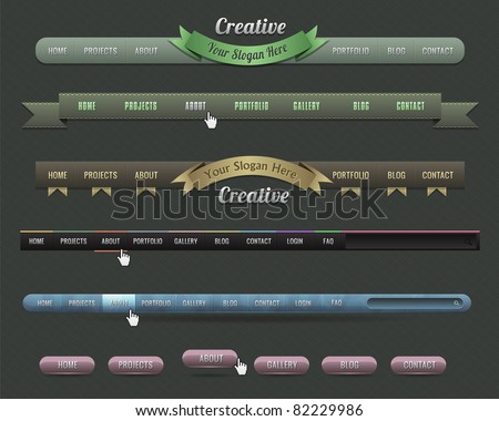 Web Elements Vector Header & Navigation Templates Set 02 - stock vector