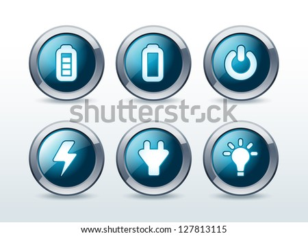 Web energy button icons set vector illustration