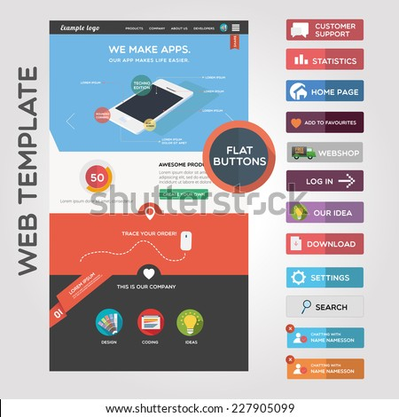 Web graphics and web template - stock vector
