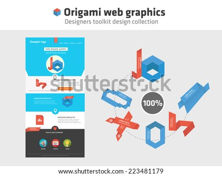 Web graphics - origami style - stock vector