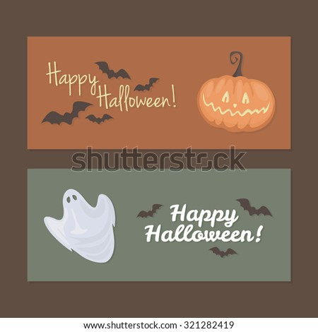 Web Halloween banner. Scary orange glowing pumpkin, bats and a ghost. Bright Halloween backdrop. Horror objects. Funny party or greeting card. - stock vector