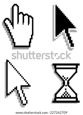 Web hand and arrow cursor with hour-glass Vector - stock vector