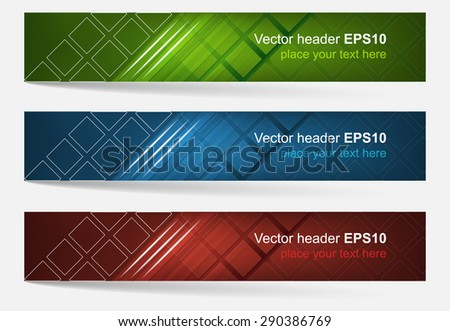 Web header, set of vector banner. Editable design with space for your content and website presentation. Three color variations. - stock vector