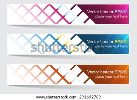 Web header, set of vector banner. Editable design with space for your content and website presentation. - stock vector