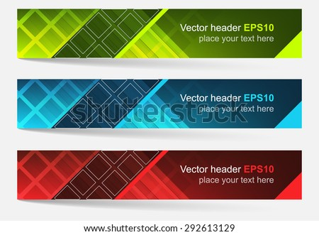Web header, set of vector banner/editable design with space for your content and website presentation/three color variations. - stock vector