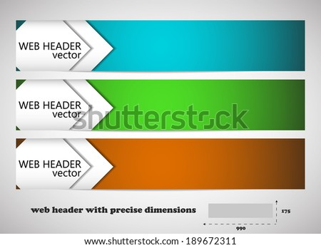 Web header with precise dimensions, set of vector banners - stock vector