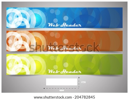 Web headers with precise dimension, set of vector banners/design for web header or banner with place for your content/vector illustration - stock vector