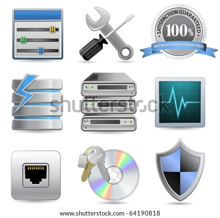 Web Hosting Icons for Hosting Panel - stock vector