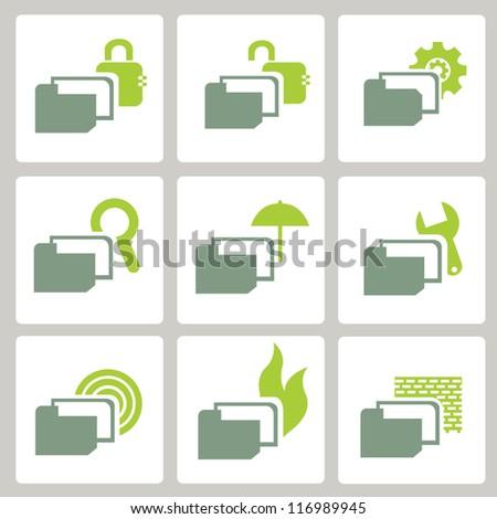 web icon, internet icon, business icon set, green icon set - stock vector