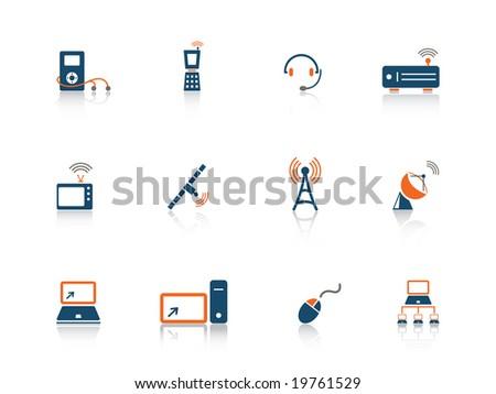Web icon media blue orange series - stock vector