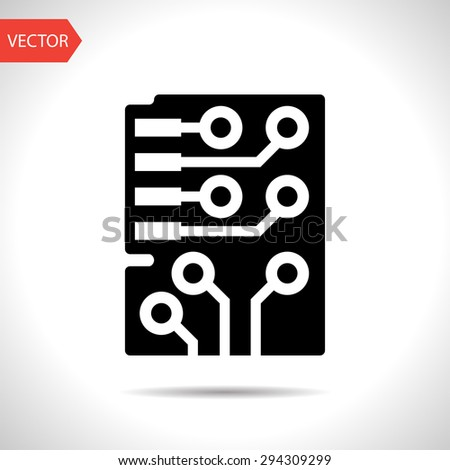 Web icon of circuit board with microchip, vector design - stock vector