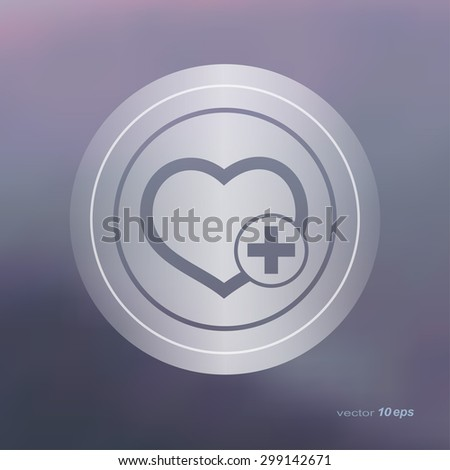 Web icon on the blurred background. Heart Symbol.  Vector illustration - stock vector