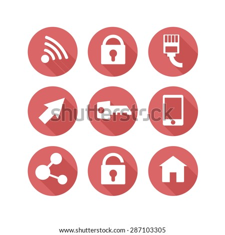 web icon's white set with long shadows - stock vector