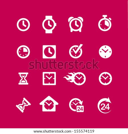 Web icon Set - clock, time, alarm - stock vector