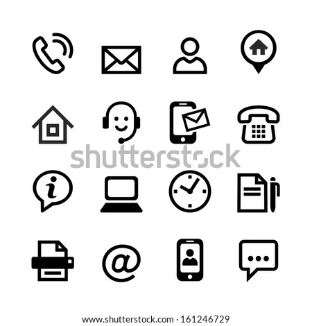 Web icon set - Contact us  - stock vector