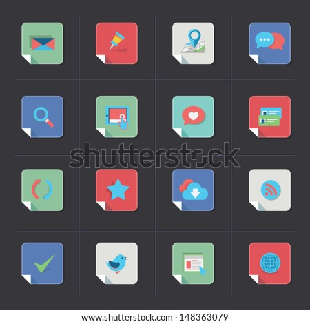 Web icon set - folded corner