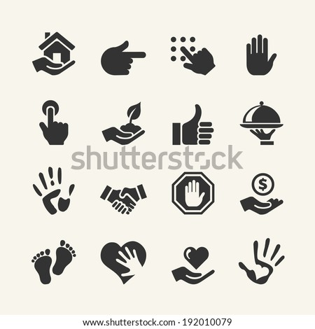 Web icon set - Hand - stock vector