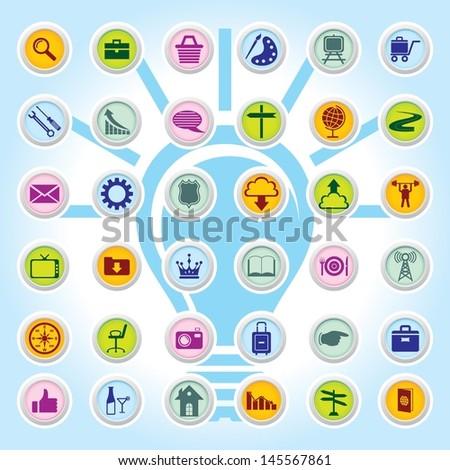 Web Icon Set On Colour Buttons Backgrounds Eps-10 - stock vector