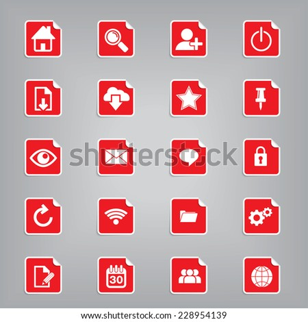 Web Icon Set Paper Folds Style, high quality vector EPS10 - stock vector