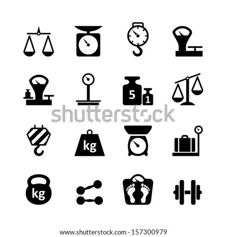 Web icon set - scales, weighing, weight, balance - stock vector