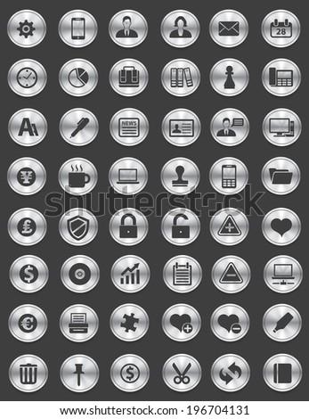 Web icon set,Silver button,vector - stock vector