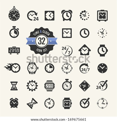 Web icon set - time, clock, alarm  - stock vector