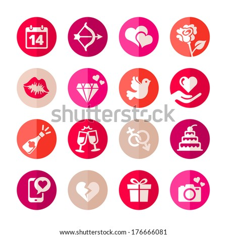 Web icon set - Valentine's day. Flat style