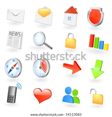 Web icon set. Vector - stock vector