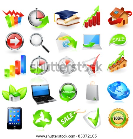 Web icon set. Vector - stock vector