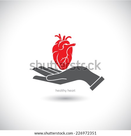 Web icon, the human heart in his hand. - stock vector