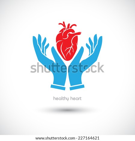 Web icon, the human heart in his hand - stock vector