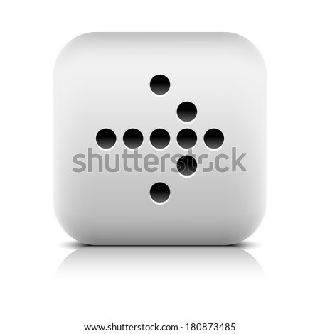 Web icon with digital arrow sign. Series in a stone style. Rounded square button with gray reflection black shadow on white background. Graphic vector illustration internet design element 8 eps