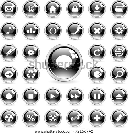 Web icons. Contact buttons set - email, home, phone, map. - stock vector