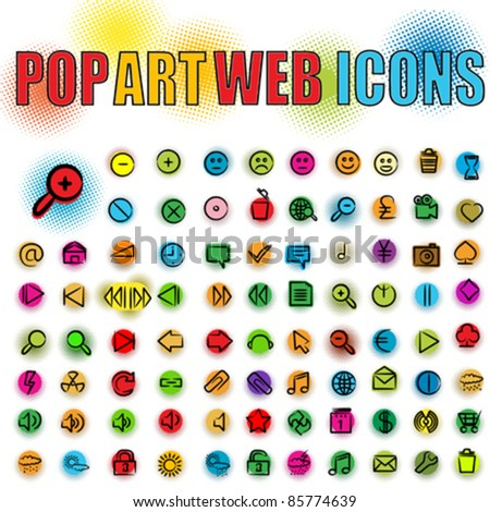 Web icons in pop art style, isolated and grouped objects over white background