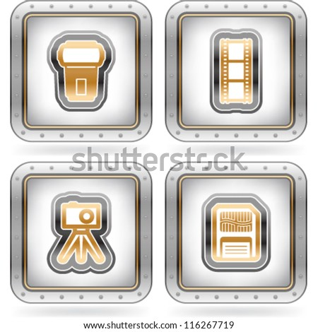 Web icons (internet icons), pictured here from left to right:  Flash gun, Film strip, Compact camera & tripod, Memory card. - stock vector